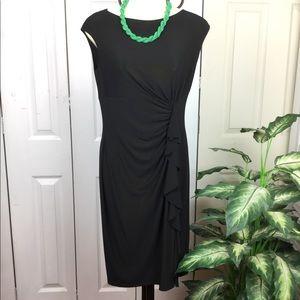 LAUREN RALPH LAUREN BLACK SLEEVELESS DRAPED DRESS